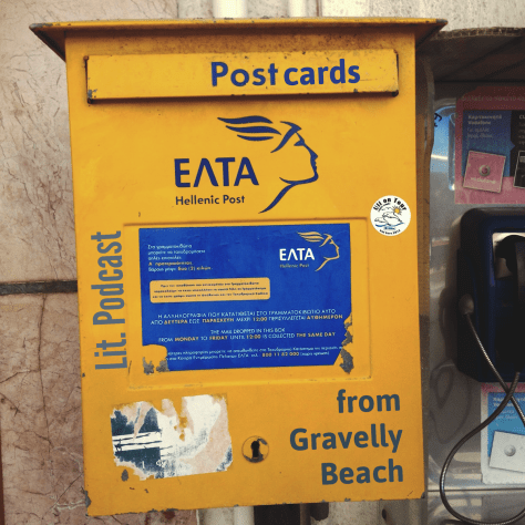 Postcards from Gravelly Beach - Yellow Greece Postbox