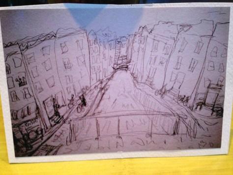 Post'd: art postcards, handmade – Amsterdam canal sketch