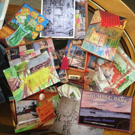 postcard still-life: assorted handmade for Nepal stack