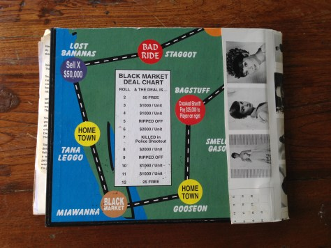 Scrapbook: Fck Stats, Make Art workbook, 2015 / Hitch-hiking board game with Audrey Hepburn, back cover
