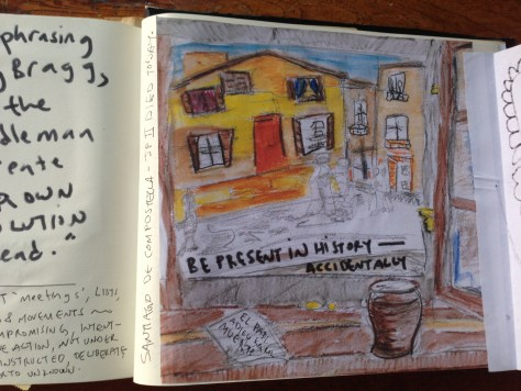 Scrapbook: Fck Stats, Make Art workbook, 2015 / Beer in Santiago the day Pope JP2 died (watercolour pencil and marker)