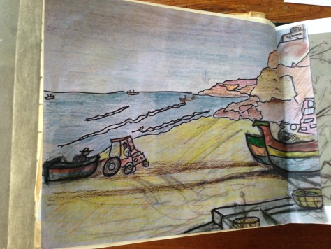 Scrapbook: Fck Stats, Make Art workbook, 2015 / Portuguese fishing boats in Salema (watercolour pencil and marker)