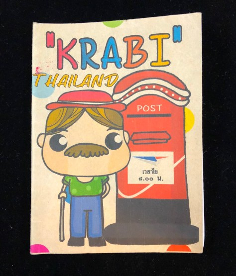 illustration of me it seems, complete with moustache, walking stick, hat and posing by a Thai post box - gift from someone