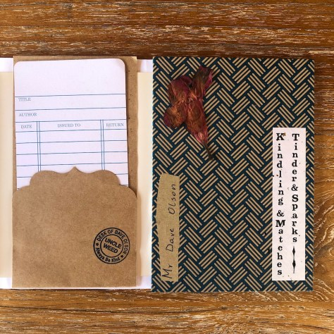 Scrapjournal: Kindling & Matches, inspo and amuse (front & library card insert)