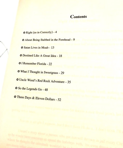Shoebox, chapbook / table of contents