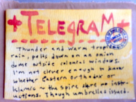 Telegrams from the Majestic Hotel: 1 (thunder and tropical rain)