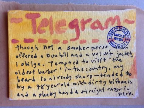 Telegrams from the Majestic Hotel: 5 (bi-focal barber))