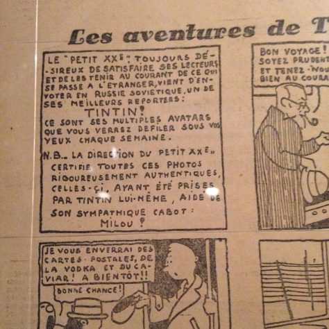 """Introducing Tintin"" in the first panel from the first printing of the first story of Tintin  – Hergé / Tintin artifacts in Québec City"