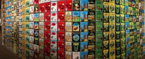 Wall of Tintin book covers, in various languages  – Hergé / Tintin artifacts in Québec City