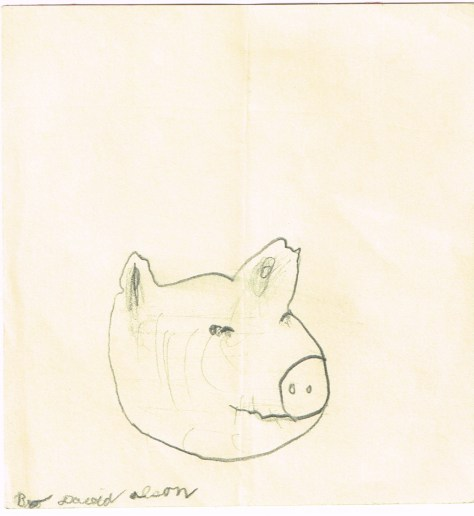Drawing: Pig head 2, David Olson, undated (likely 1977)