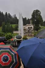 Watching a fountain in the rain at Linderhof.
