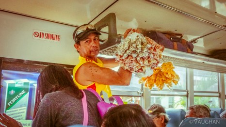 "Rather than a sea of silent texting passengers, random food peddlers pop on at every stop barking the cry, ""Buy, buy, buy?"""