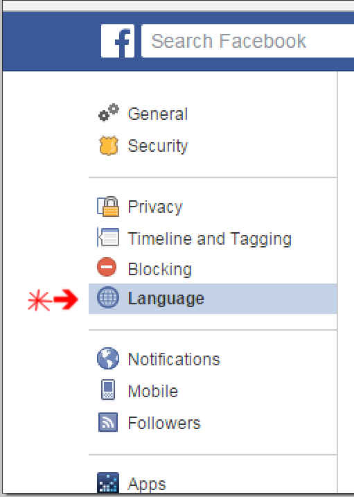 facebook-language-options - Change Language Back to English On Facebook