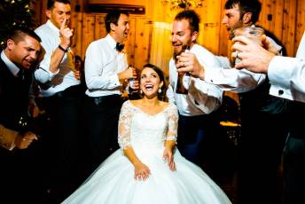 Happy Bride during her wedding Reception