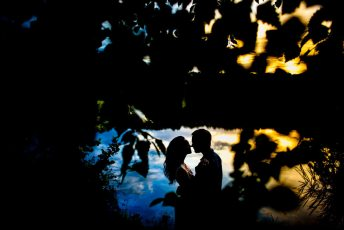 Colorful Yates Mill Engagement Silhouette
