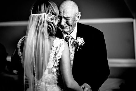bride and grandfather sharing first dance