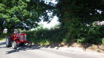 Cancer research fundraising tractor drive around Norfolk