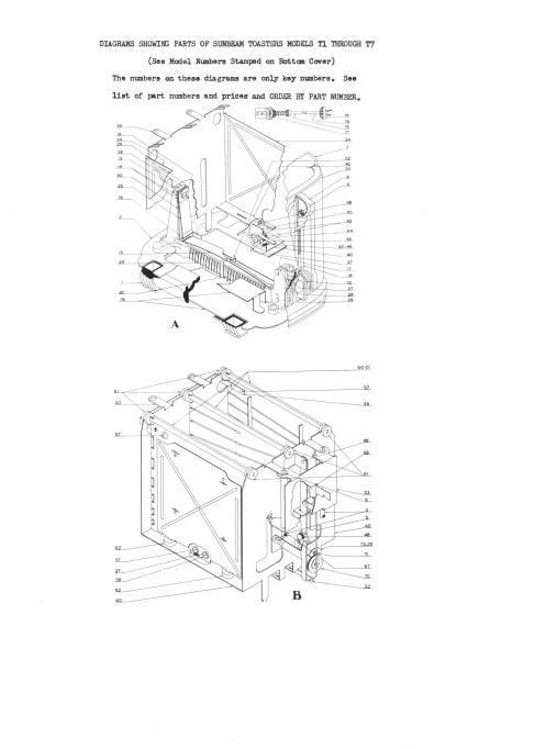 Vintage Sunbeam T-1, T-7 Toaster Service & Parts Manual