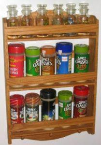 oak wall hung spice racks