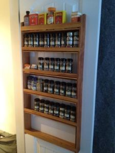 Custom Pine wood wall hanging spice rack in Dave's Plain Spice Rack Design.