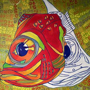 Fish Head #4, oil on canvas, 20x20, 2016