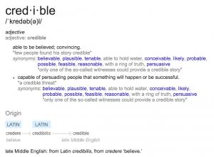 Figure 1: Etymology of the word credible.