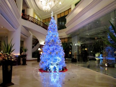 Our hotel in Mandalay decorated for Christmas