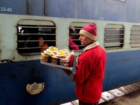 Selling food to people on the trains when they stopped at the station.