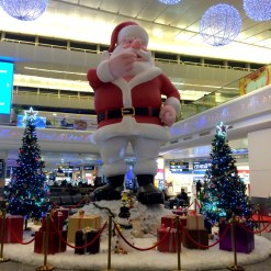 Giant Santa at the New Delhi airport.