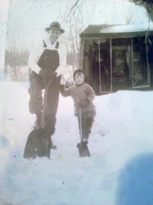 Dave at age five with his Dad in 1935.