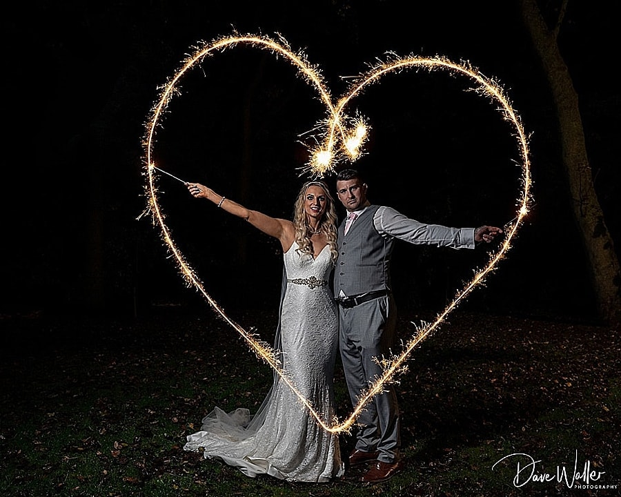 Carlton Towers bride and groom with sparkler