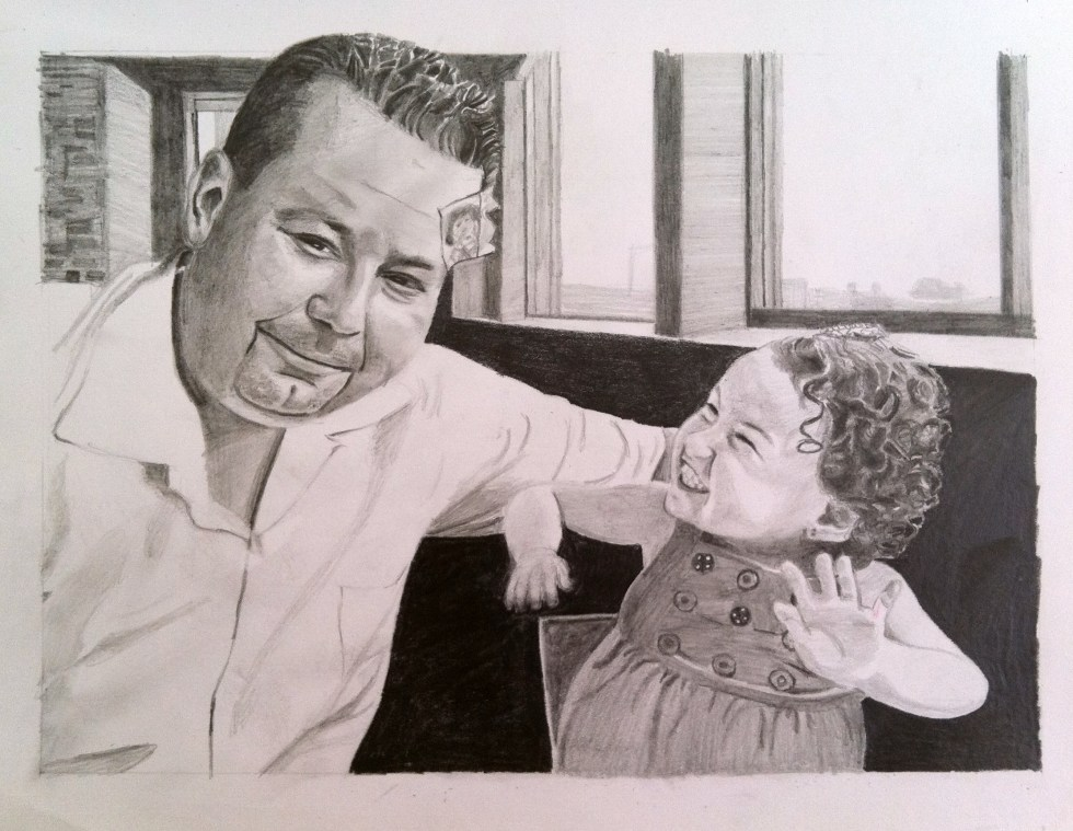 """baby portrait"", ""father daughter portrait"", ""family art"", ""art with meaning"", ""baby art"", ""dave white art"", ""portrait drawing"", ""family portrait"""