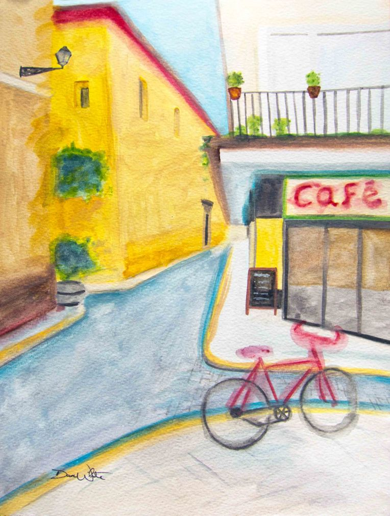 spain art, spanish art, spain painting, spanish painting, cafe painting, artist dave white, dave white paintings