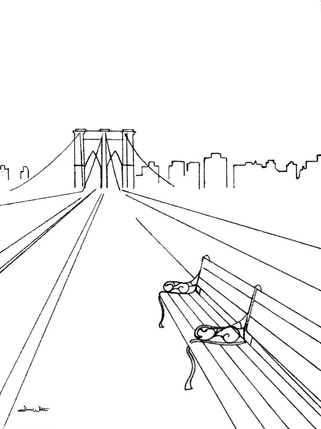 brooklyn bridge art, brooklyn bridge drawing, brooklyn bridge illustration, nyc art, new york city art, new york city drawing