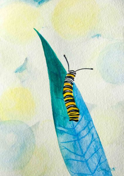 caterpillar painting, caterpillar art