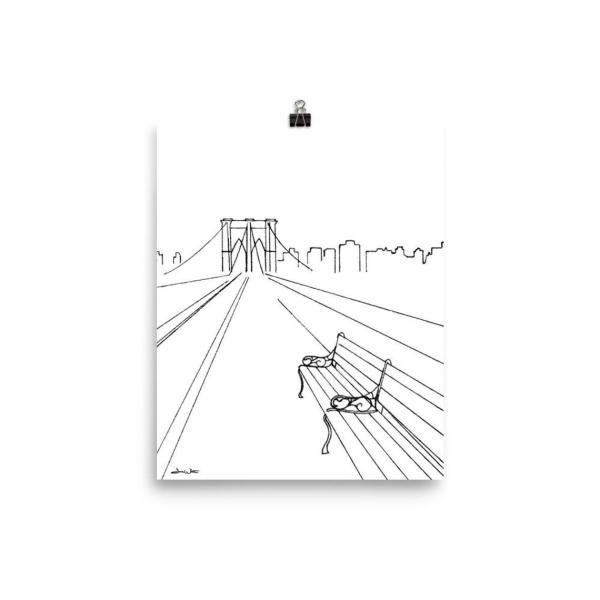 Brooklyn Bridge Art Print Drawing