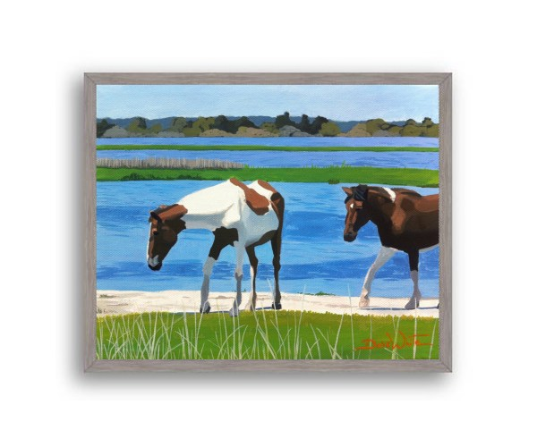 Assateague Horses Painting Grey Stain Wood Frame