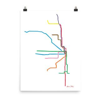 Chicago L Map Art Print