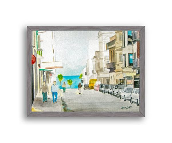Montevideo Uruguay Painting Charcoal Wood Frame