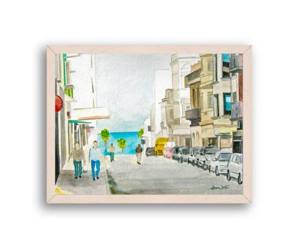 Montevideo Uruguay Painting Off White Wood Frame