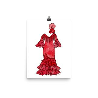 red flamenco dress painting