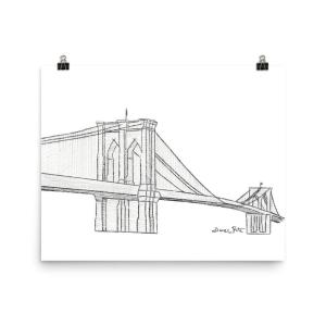 Brooklyn Bridge Hand Drawn Art Print