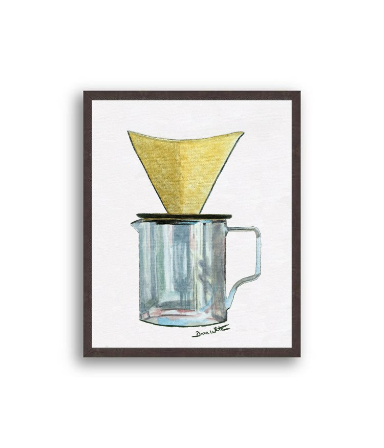 Pour Over Coffee Painting Black Wood Frame