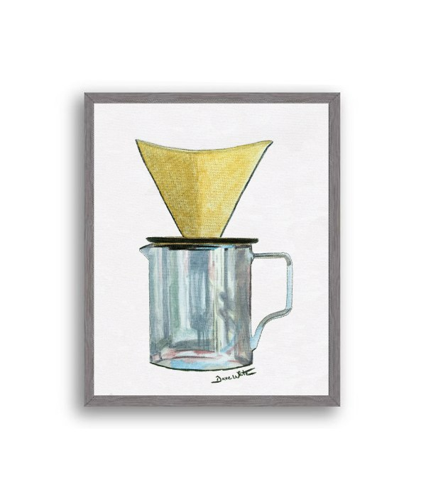 Pour Over Coffee Painting Charcoal Wood Frame
