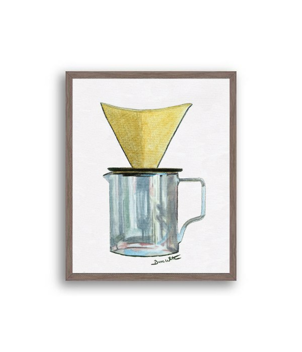 Pour Over Coffee Painting Dark Walnut Wood Frame