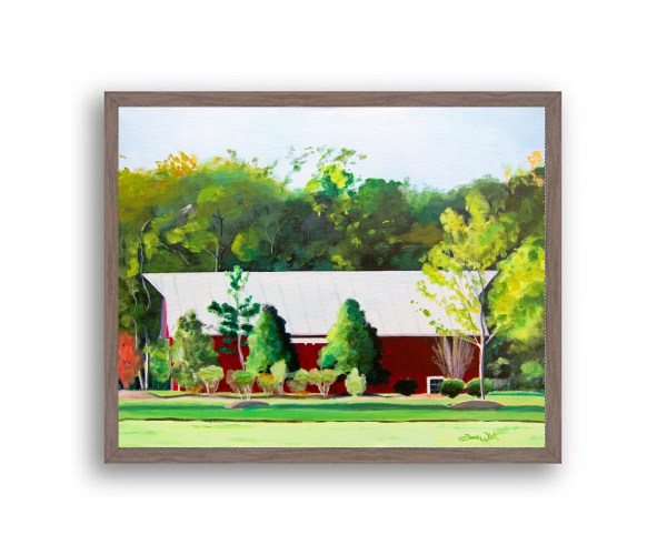Red Barn One Loudoun Painting Dark Walnut Wood Frame