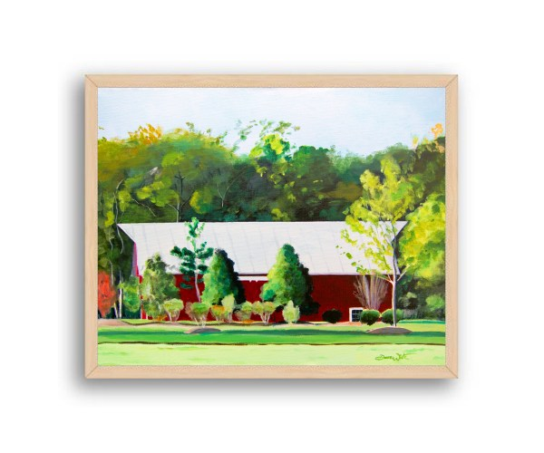 Red Barn One Loudoun Painting Natural Wood Frame
