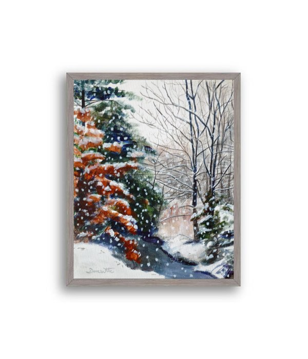 Winter Snow Forest Painting Grey Frame