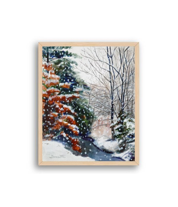Winter Snow Forest Painting Natural Wood Frame
