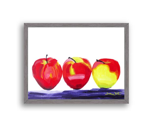 Apples Painting Charcoal Wood Frame